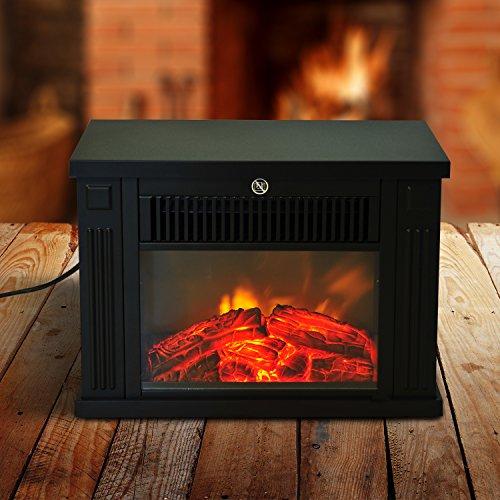 "HomCom 14"" 1000 Watt Freestanding Electric Wood Stove Fireplace Heater - Black"