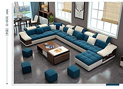 Best furniture Living and Dining Hall Nylon U Shape Sofa Set 3, 2, 2,  Corner, 4 Pease Puffy, Dewan, Standard Size (Blue and White)