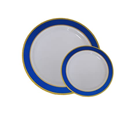 Disposable Plastic Dinner Dessert Plates With Blue and Gold Trim-40 Pack - 20 7u0026quot  sc 1 st  Amazon.com & Amazon.com: Disposable Plastic Dinner Dessert Plates With Blue and ...