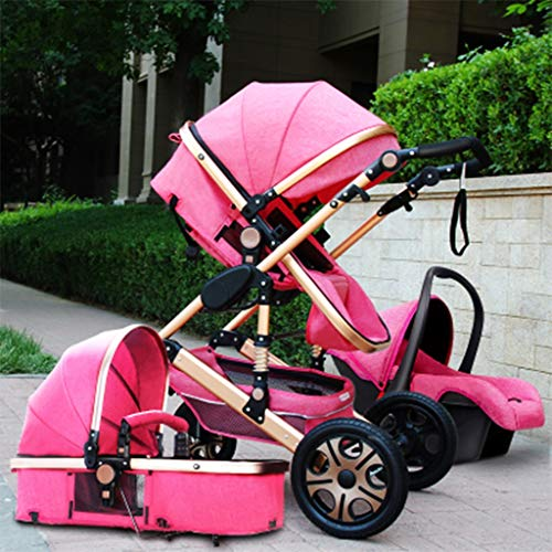 KHUY 2 in 1 Baby Stroller, High Landscape Infant Stroller & Reversible Pram, Foldable Pushchair with Adjustable Canopy, (Color : Rose Pink)