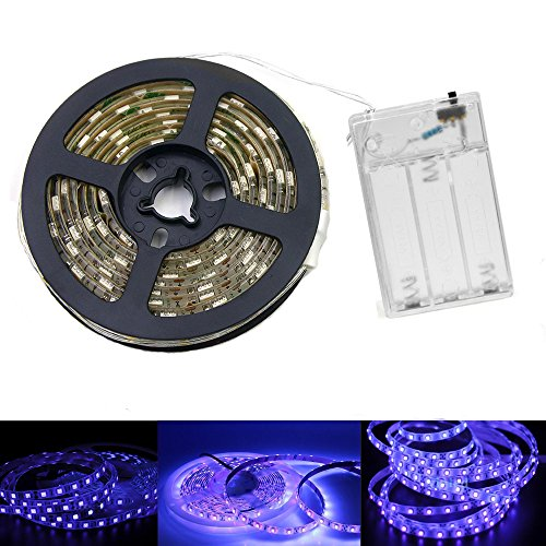UV Light Strip - iCreating 2018 New Design Ultraviolet Battery Operated LED Black Light Strip Kit with 6.6FT 2M 60Units SMD 3528 IP65 Waterproof Super Bright LED Strip Lights, Battery Case - Led Battery Strip Light