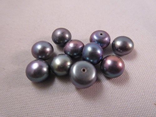 Black Peacock Half Drilled Freshwater Button Pearl Beads 7-8mm 10pcs