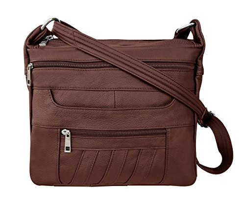 Leather Concealed Carry Crossbody Purse - YKK Locking CCW Ambidextrous Gun Bag Roma 7082, Brown (Womens Gun)