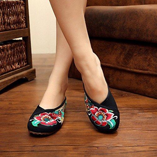 Hishoes - Zapatos Planos con Cordones Mujer negro