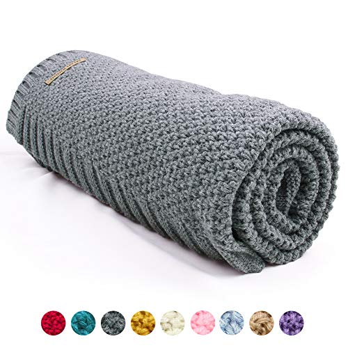 mimixiong Baby Blanket Knit Toddler Blankets for Boys and Girls (Grey,40