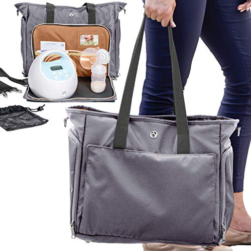 Zohzo Lauren Breast Pump Bag - Portable Tote Bag Great for Travel or Storage - Includes Padded Laptop Sleeve - Fits Most Major Brands Including Medela and Spectra (Pewter)