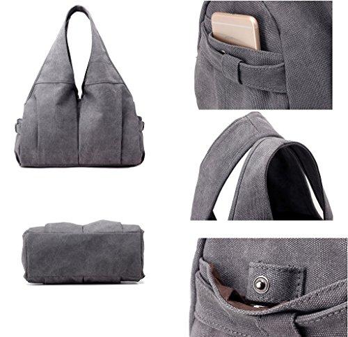 Womens Moden Handbag Tote Bag Canvas Shoulder Brown Bags Hobo Supa CT5xndTpw