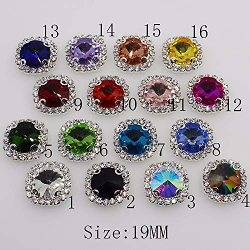 Pukido 10pcs/lot 19mm Square Glass Rhinestone Button Multi-Color Optional 4 Holes can be Sewn Clothing Ribbon Decoration Craft Supplies - (Color: 1)