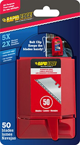 Rapid Edge All-Purpose Serrated Utility Knife Blades (50 blades) (1 Pack)