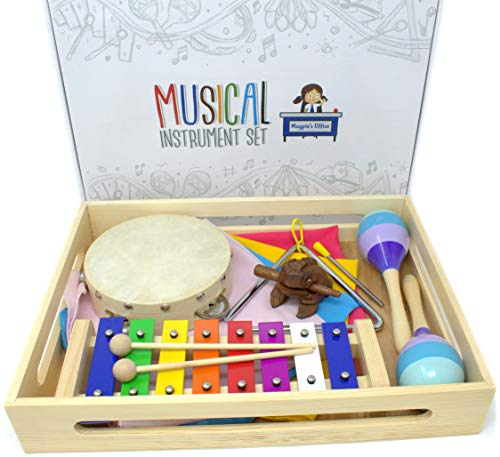 Magpie's Office Children's Wooden Musical Instrument Set - in Tune Glockenspiel (Xylophone), Maracas, Tambourine, Sheet Music, Dance Scarves and More Percussion Toys Included - Learn to Play Music
