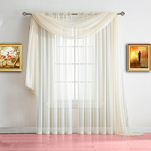 Warm Home Designs Extra Long Light Beige Sheer Window Scarf. Valance Scarves are 56 X 216 Inches in Size. Great As Window Treatments, Bed Canopy Or for Decorative Project. Color: Beige 216
