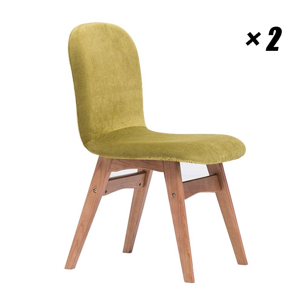 ソリッドウッドダイニングチェアモダンラウンジシートシンプルなキッチンチェア、家庭用、レストラン、カフェレジャー43.5×57×82cm (色 : Yellow-green flannel, サイズ さいず : Set of 2) B07F846YK2 Set of 2|Yellow-green flannel Yellow-green flannel Set of 2