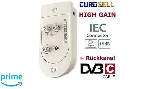 Eurosell - PREMIUM Cable Televisión por cable CATV Cable Televisión profesional Dos dispositivo Amplificador + Canal de Retorno HighEnd Full HD Digital ...