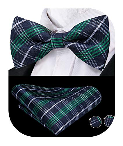 - Dubulle Green and Black Plaid Mens Bowtie and Handkerchief Cufflinks Set