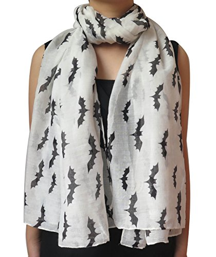 Lina & Lily Halloween Bats Print Women's Large Scarf Shawl Wrap Oversized Lightweight (Halloween Scarves)
