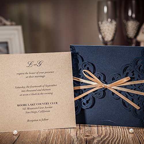 Rustic Wedding Invites Navy Blue DIY Invitations Cards Printable kit with Envelopes Elegant Lace fit Bridal Bride Shower Party Baby Shower Birthday Quinceanera Invitaion 100 PCS