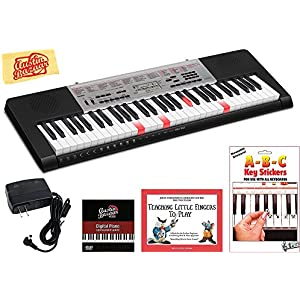 Casio LK-190 Lighted Keys Keyboard Bundle with Power Supply, Removeable Stickers, Instructional Book, Austin Bazaar Instructional DVD, and Polishing Cloth