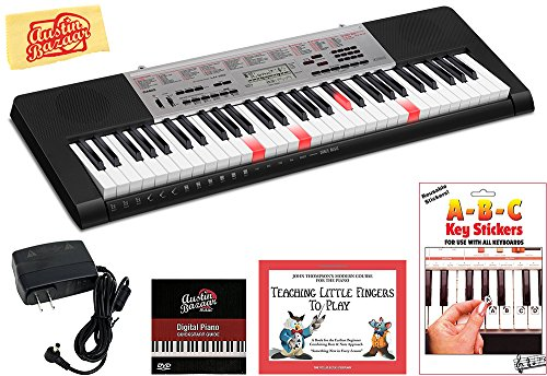 Casio LK-190 Lighted Keys Keyboard Bundle with Power Supply, Removeable Stickers, Instructional Book, Austin Bazaar Instructional DVD, and Polishing Cloth ()