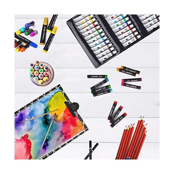 KINSPORY-174-PCS-Portable-Inspiration-Creativity-Coloring-Art-Set-Deluxe-Painting-Drawing-Supplies-with-Wood-Box