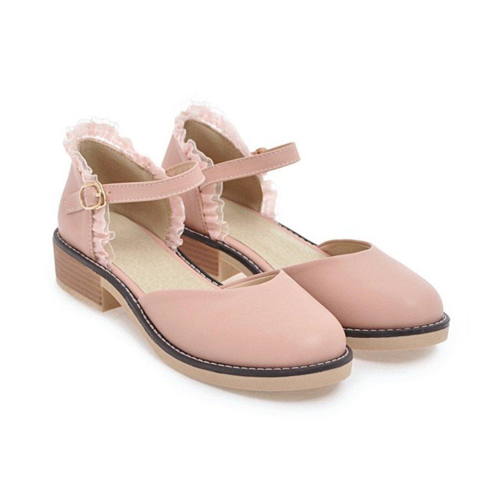 QXH Damenschuhe Sandalen Flachen Maul Runder Kopf Wohnungen Gürtelschnalle, Apricot Farbe, 36