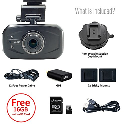 WheelWitness HD PRO Dash Cam with GPS - 2K Super HD - 170° Lens - 16GB microSD - Advanced Driver Assistance - For 12V Cars & Trucks - Night Vision Dashboard Camera Ambarella A7LA50 Car Security DVR by WheelWitness (Image #4)