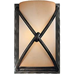 Minka Lavery Wall Sconce Lighting 1974-1-138, Aspen II Glass Damp Bath Vanity Fixture, 1 Light, 60 Watts, Bronze