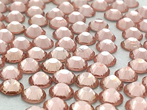 1440 x (Peach ss16 (4mm), 45 Colours 5 Sizes, EIMASS® 7767 DMC Hot Fix Glass Rhinestones, Flat back Gems, Diamante with Glue Backing, Pack of 1440 Crystals
