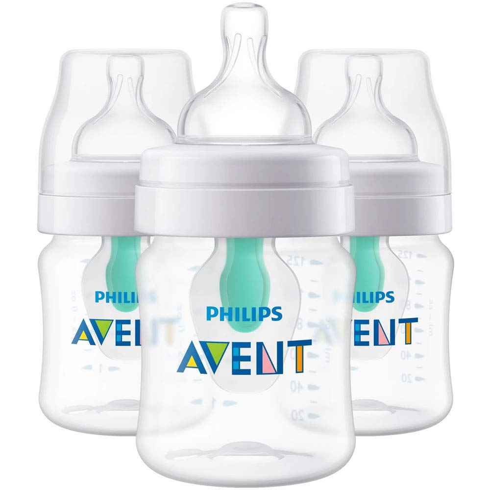 Philips AVENT SCF400/34 Anti-Colic Bottle with Insert 4oz 3pk, Clear