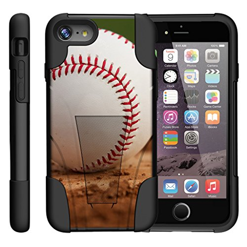 TurtleArmor | Compatible for Apple iPhone 7 Case | (4.7) [Gel Max] Hybrid Impact Proof Kickstand Case Silicone Hard Dual Cover Sports and Games Design - Baseball Dirt