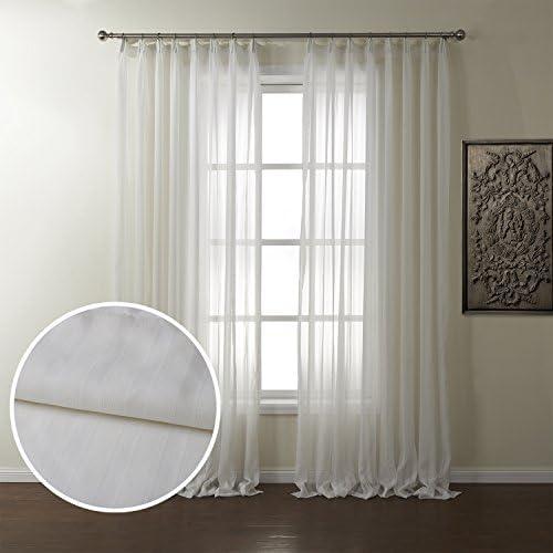 Dreaming Casa Semi Sheer Curtain Classic Jacquard Stripe Voile Drape 96 Inches Long Window Treatment 52 W x 96 L 2 Panels White