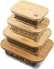 DE Plastic-Free Glass Food Storage Containers with Eco-Friendly Bamboo Wooden Lids, Set of 4 Pantry Organization Ideal for Flour, Sugar, Coffee, Teabags, Pasta, Candy, Snack and Various Dried Foods