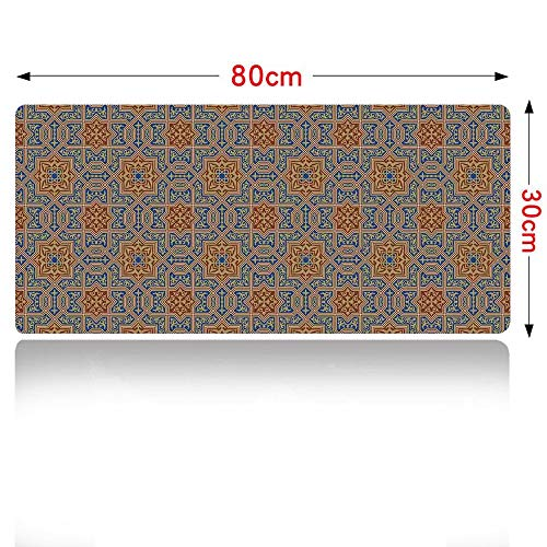 Moroccan Gaming Mouse pad Traditional Arabic Design Tile with Geometric Floral Motifs Curly Details Mouse Pad Large Size 800x300mm Blue Sepia Redwood 32×12in ()