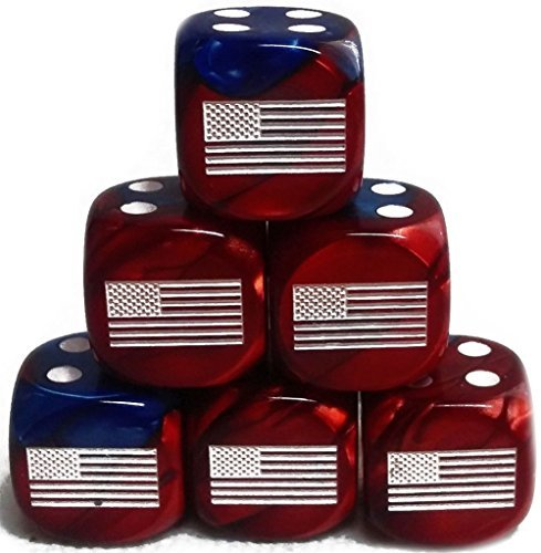 Custom Dice - Custom & Unique {Standard Medium 16mm} 6 Ct Pack Set of 6 Sided [D6] Square Cube Shape Playing & Game Dice w/ Rounded Corner Edges w/ American Flag on Number One Design [Red, Blue & White]
