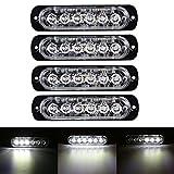 Automotive : XT AUTO 6LED Car Truck Emergency Beacon Warning Hazard Flash Strobe Light White/White 4-pack