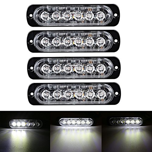 XT AUTO 6LED Car Truck Emergency Beacon Warning Hazard Flash Strobe Light White/White 4-pack