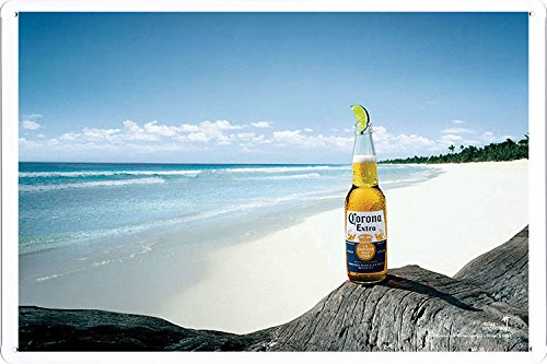 Corona Beer and Beach A Tin Poster by Food & Beverage Decor