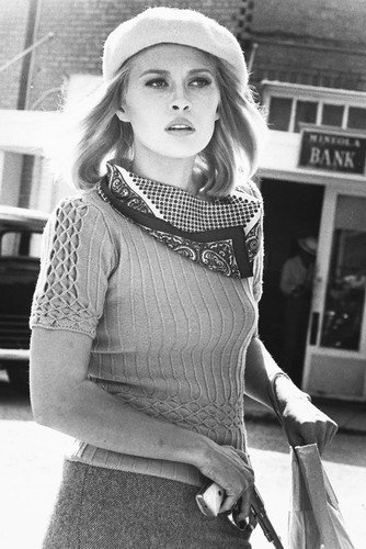 Faye Dunaway Bonnie and Clyde B&W Poster In Cap