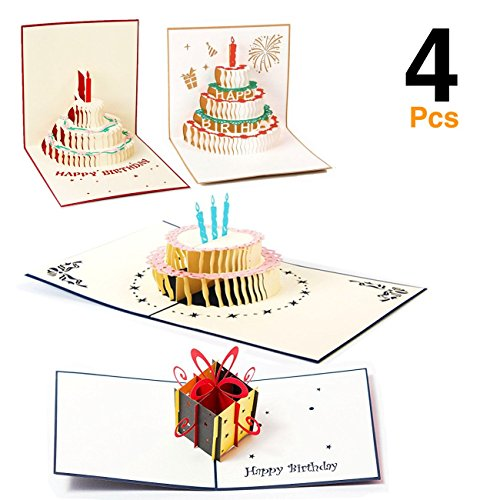 [O'Hill 4 Pcs 3D Pop Up Birthday Cards Laser Cut Happy Birthday Greeting Cards with Bookmark] (Laser Cut Note Cards)