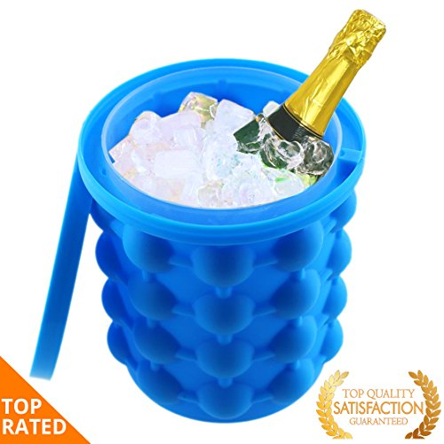 Ice Cube Maker Genie | Space Saving Mini Portable Travel Bucket Gift | Silicone Mold Tray | Kitchen Tool | Ice balls for Party, Drink Tub, Chilling Bourbon Whiskey, Cocktail & other Beverages