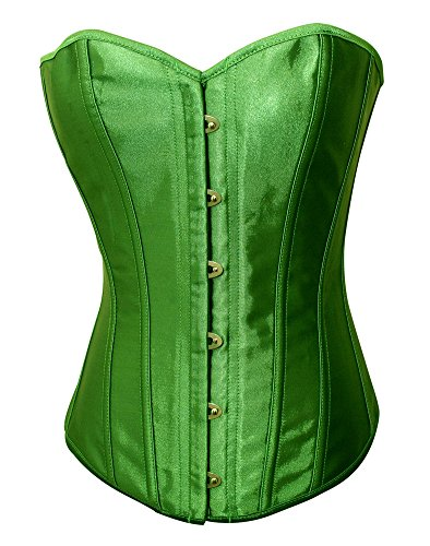 Chicastic Emerald Green Satin Sexy Strong Boned Corset Lace Up Overbust Bustier Bodyshaper Top - 3-4 XL