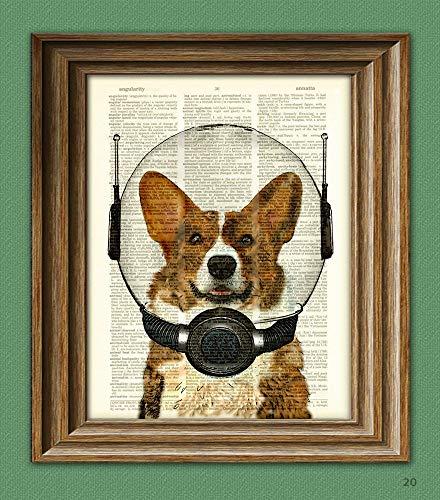 Space Corgi. Lieutenant Waffles of the Space Patrol Cardigan Welsh Corgi Dog In a Space Helmet Illustration Dictionary Page Book Art Print