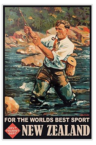 New Zealand FISHING Travel Print circa 1930 - measures 24