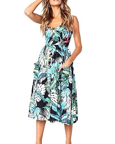 ECHOINE Green Boho Floral Summer Midi Beach Dress with Pockets Tea Dress