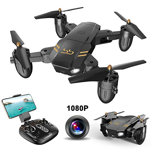 ScharkSpark Drone Guard for Beginners, Drone with 1080P FPV HD Camera/Video, Portable RC Quadcopter, 2.4G 6-Axis Headless Mode Altitude One Key Return 3D Flips and Rolls Toys (Best Quadcopter With Camera Under 100)