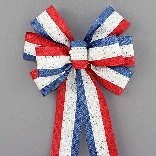 Patriotic Sparkle Outdoor Wire Edge Bow - 10
