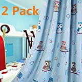 MYRU 1 Pair Children Kids Room Darkening Curtains Cartoon Print Owl Grommets Top Curtain Windows Drapes (Blue,39'' by 84'' X 2)