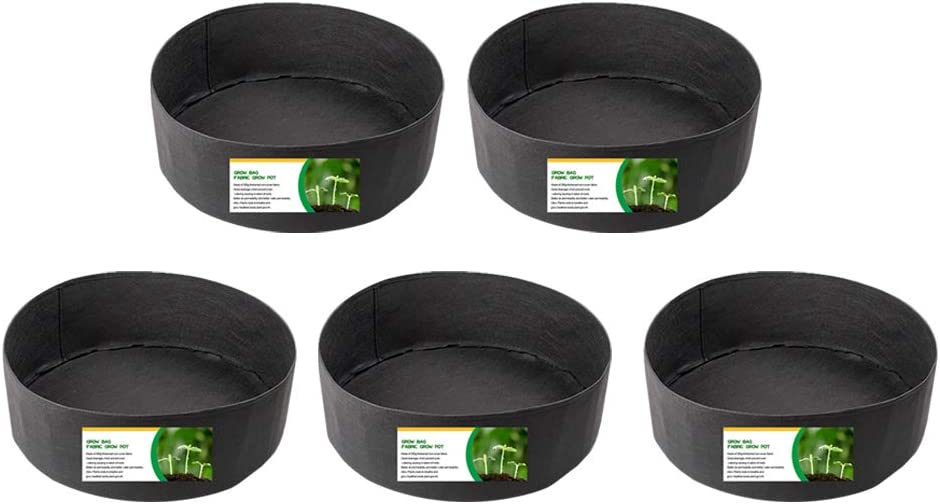 5-Pack 15 Gallon Fabric Grow Pots Garden Raised Planting Bed Without Handles,Heavy Duty Thickened Non-Woven Grow Bags for Vegetable,Flowers and Fruits