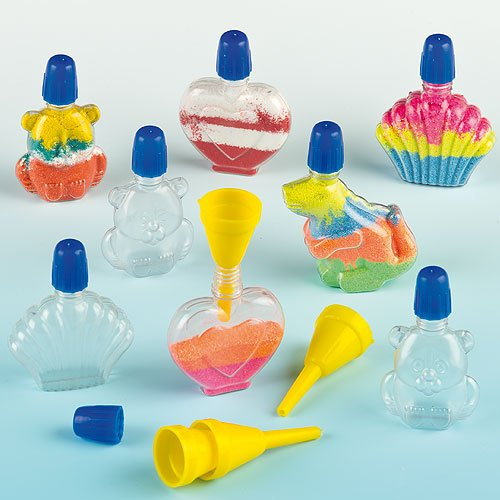 Pack of 8 Baker Ross Mini Shaped Plastic Sand Art Bottles 4 Assorted Shapes with colored Screw Lids including 2 Funnels per pack for Kids Craft Projects