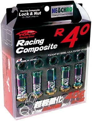 新品*KicS*RC-13N*Racing Composite R40 M12 x P1.25 (Lock & Nut Set)*ネオクローム*ナット+ロックナット*20個(1台分)*(17HEX)