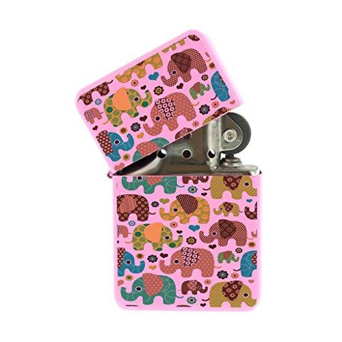 Pink Flip Top Refillable Windproof Lighter - Baby Elephant Love Hearts Pink Lighter -